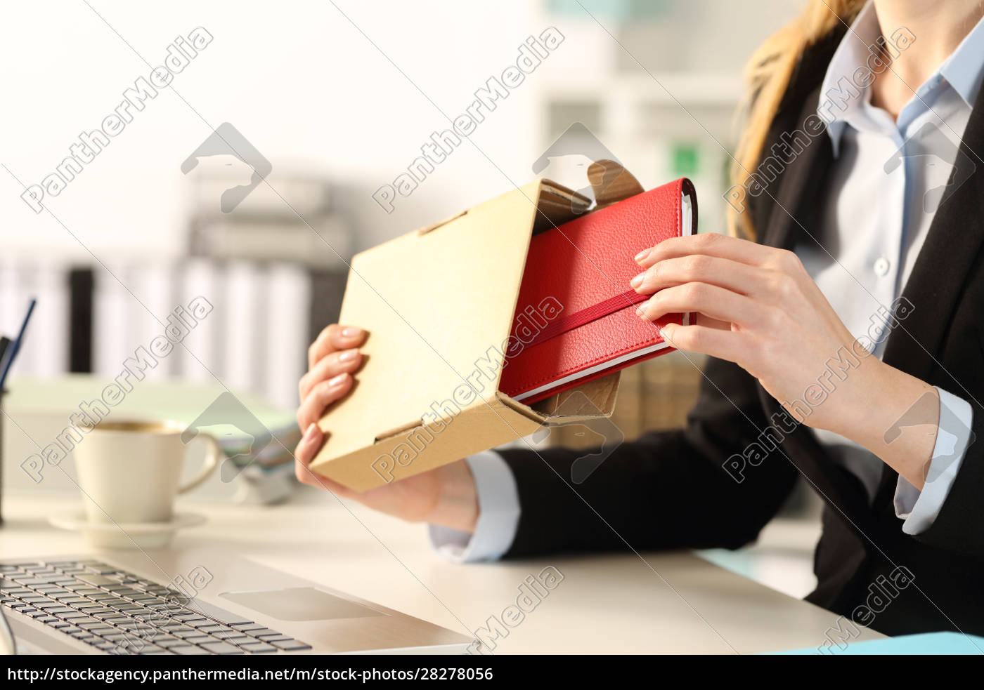 executive, hands, unboxing, package, with, agenda - 28278056