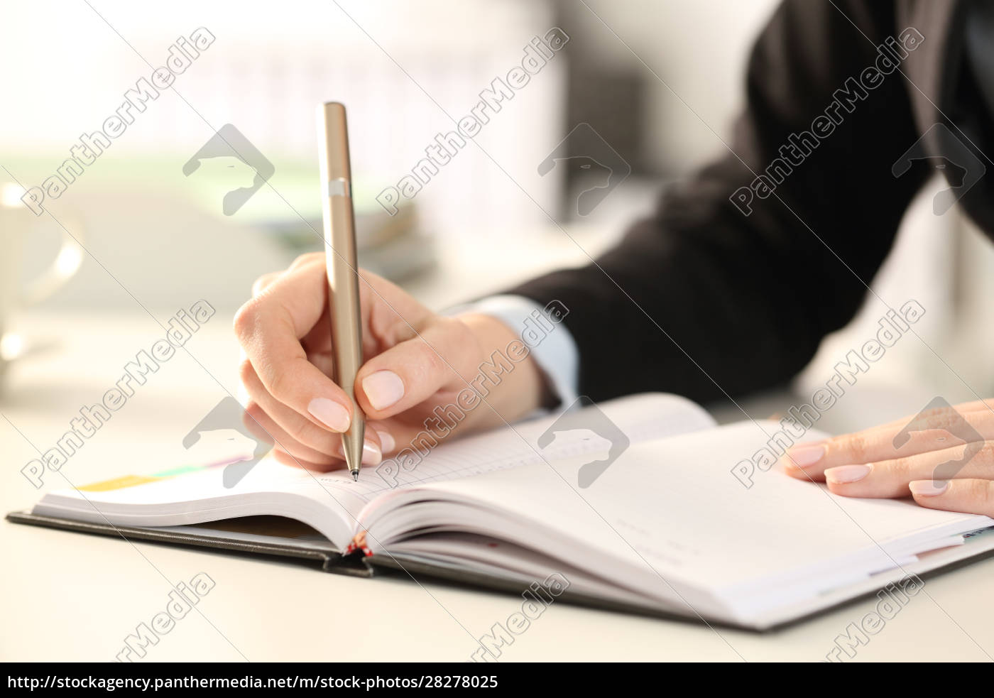 executive, woman, hands, writing, notes, on - 28278025