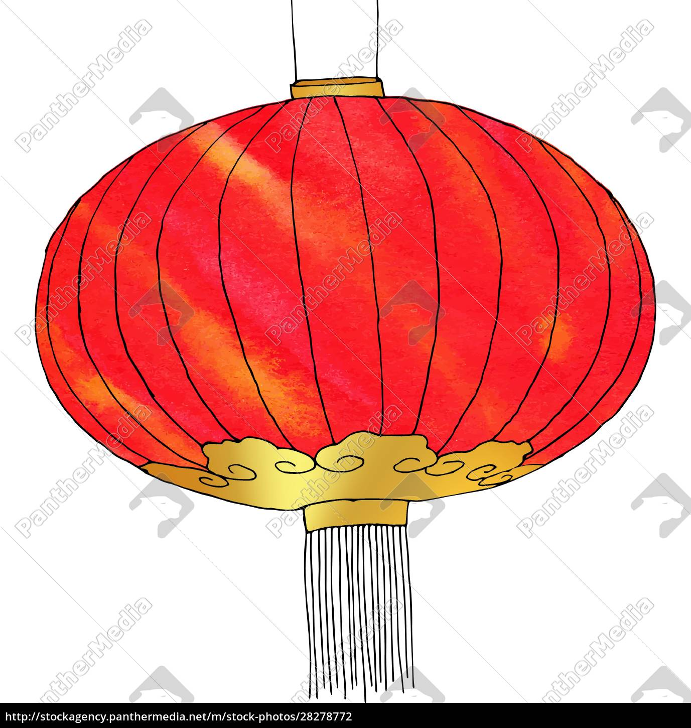 hand, drawn, watercolor, chinese, lantern., chinese - 28278772
