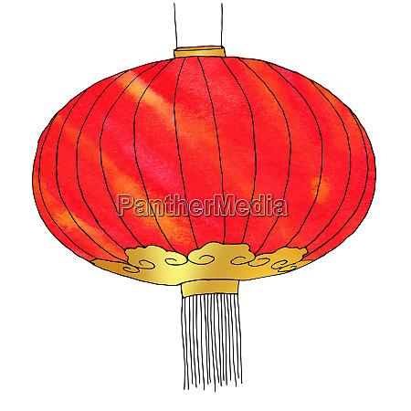 hand, drawn, watercolor, chinese, lantern., chinese - 28278775