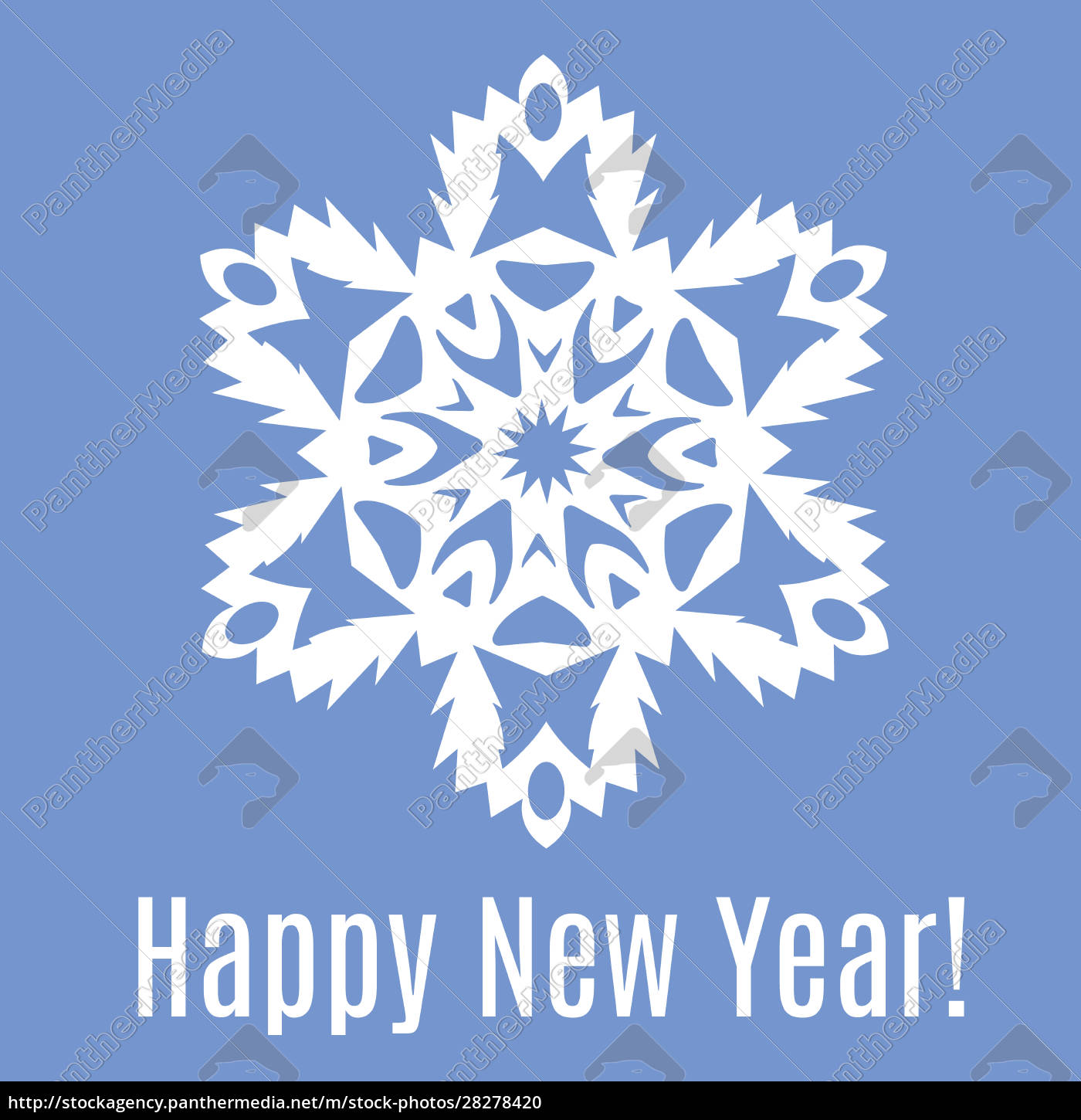 happy, new, year, paper, snowflake, on - 28278420