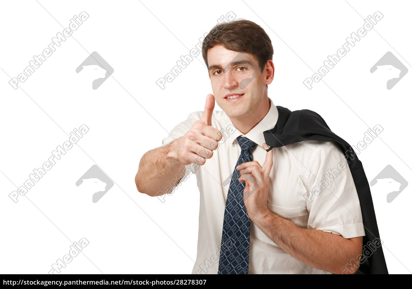 satisfied, man, thumbs, up, on, white - 28278307