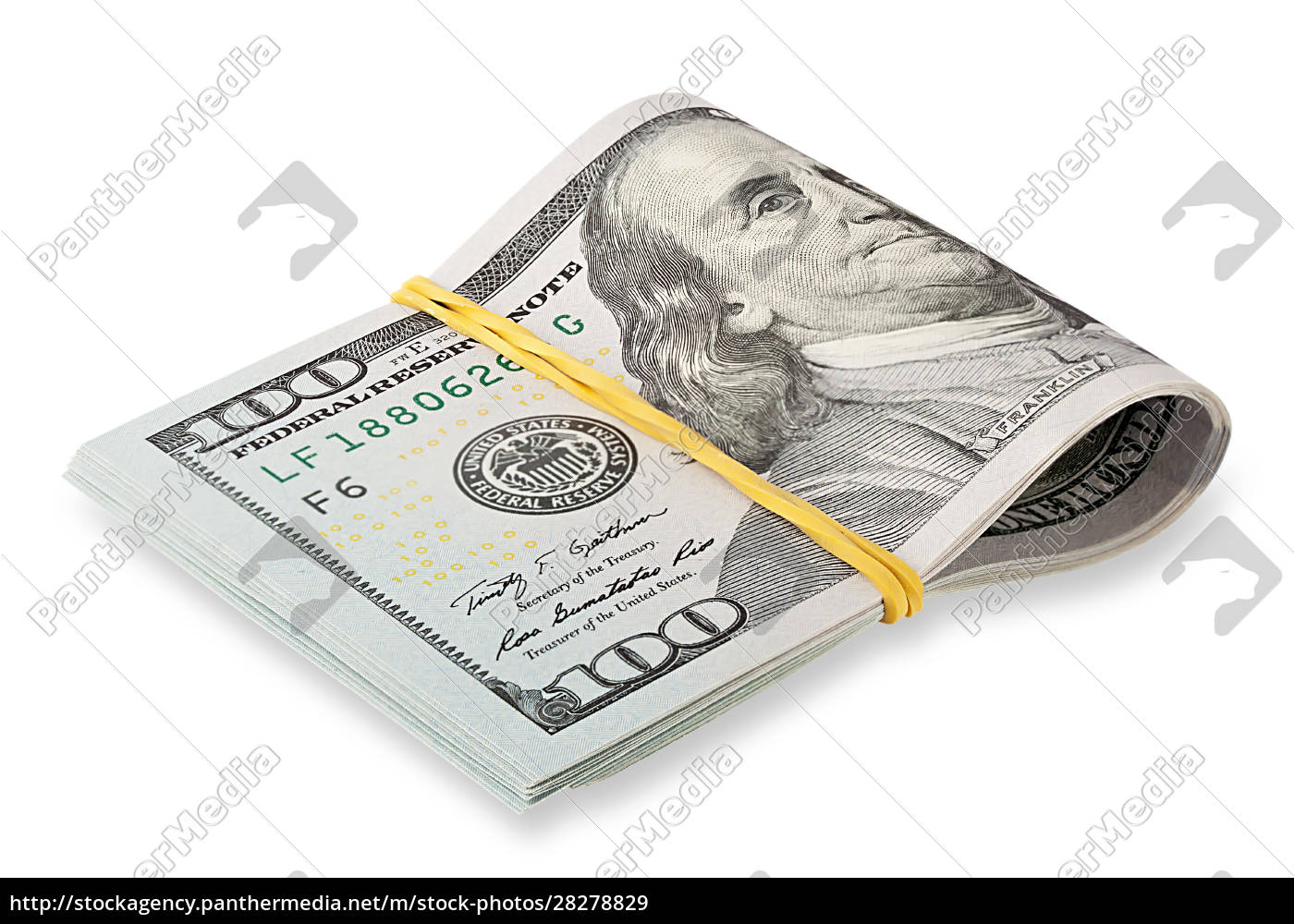 stack, of, hundred-dollar, bills, tapered, rubber - 28278829