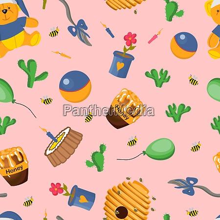 teddy bearwinnie the pooh seamless pattern