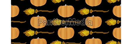 seamless vector pattern pumpkin and flying