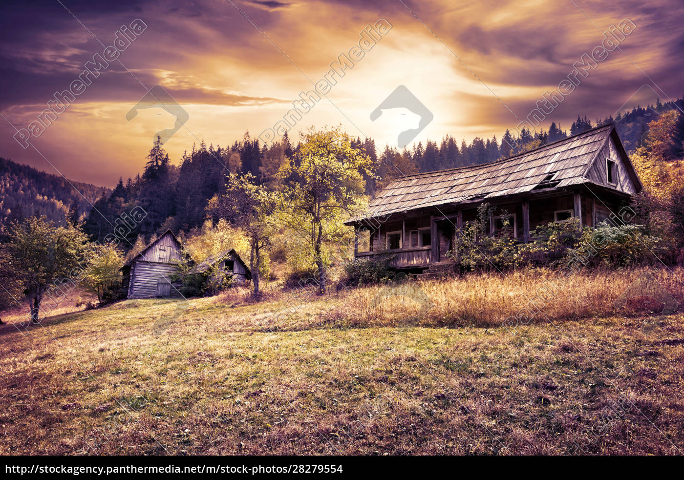 abandoned, wooden, house, on, hillside, under - 28279554