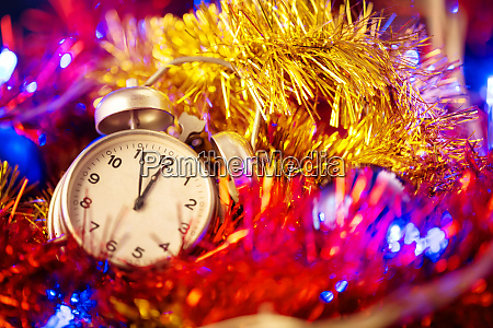 background, with, clock, and, christmas, decorations - 28279665