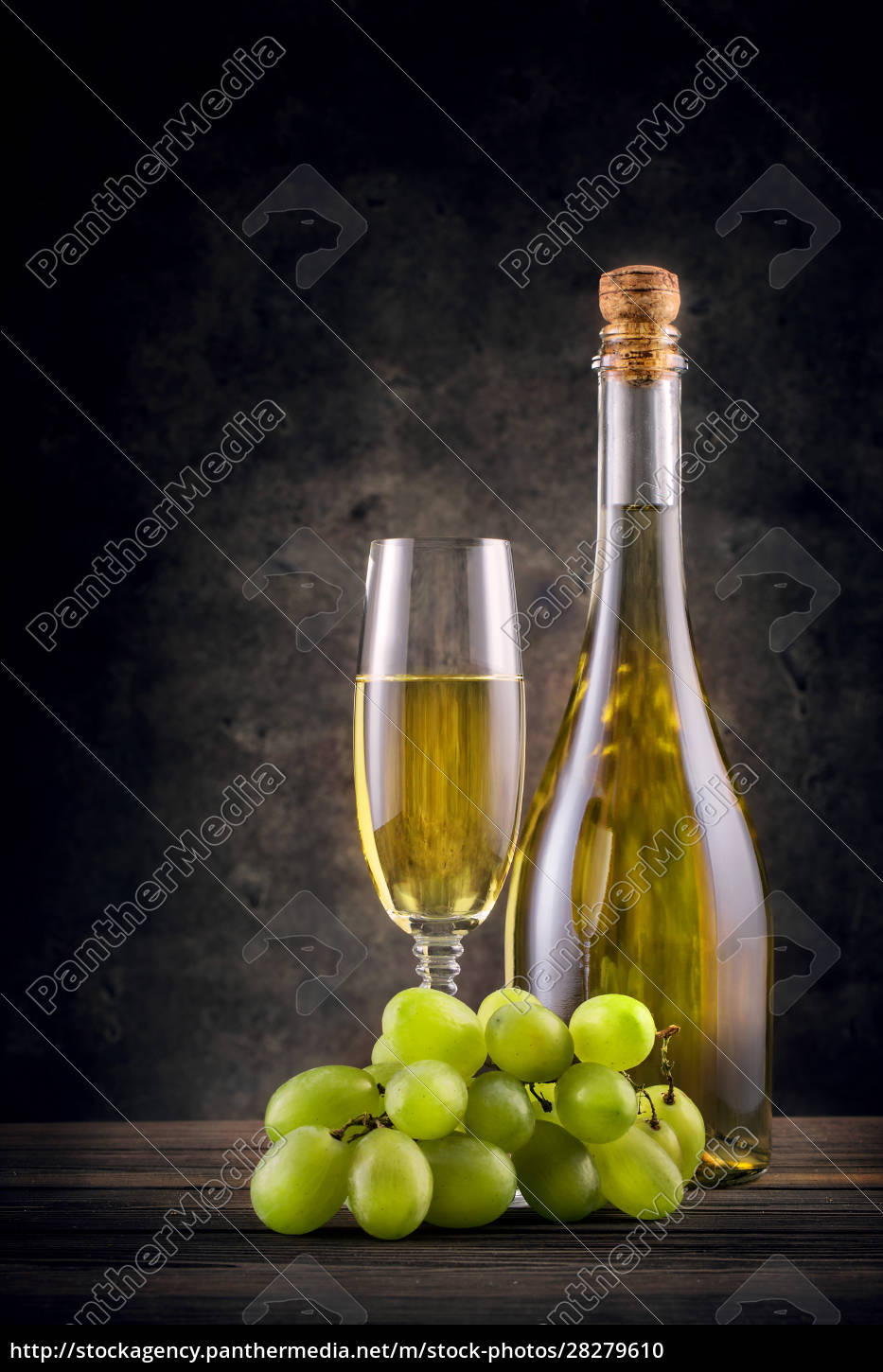 bottle, and, glass, of, white, wine - 28279610