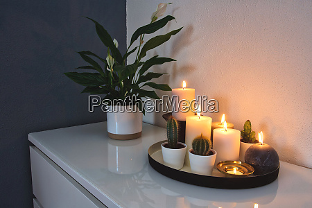 collection, of, burning, decorative, candles, on - 28279975