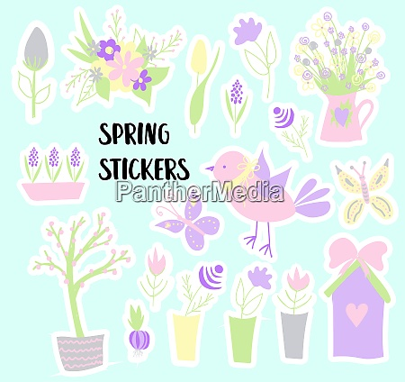 easter., spring, stickers., happy, easter., elements - 28279422
