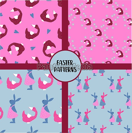 easter, seamless, patterns., set, of, abstract - 28279334