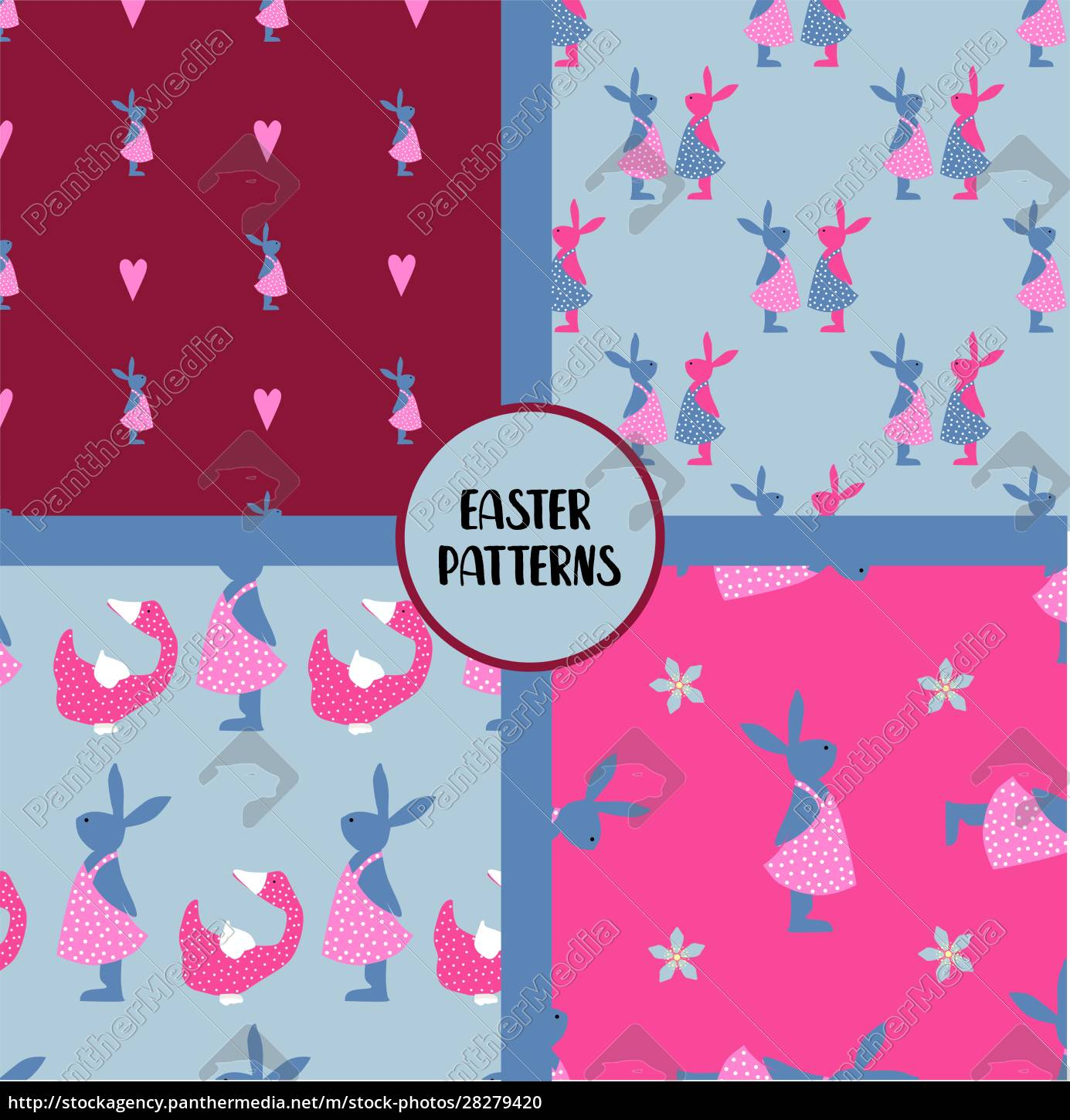 easter, seamless, patterns., set, of, abstract - 28279420