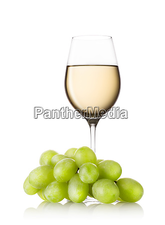 glass, of, white, wine, with, grapes - 28279671