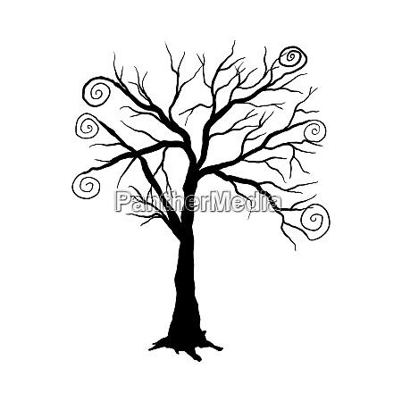 halloween, cartoon, tree - 28279211