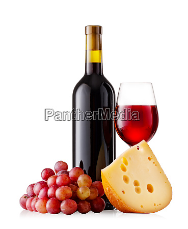 red, wine, with, cheese, and, grapes - 28279707