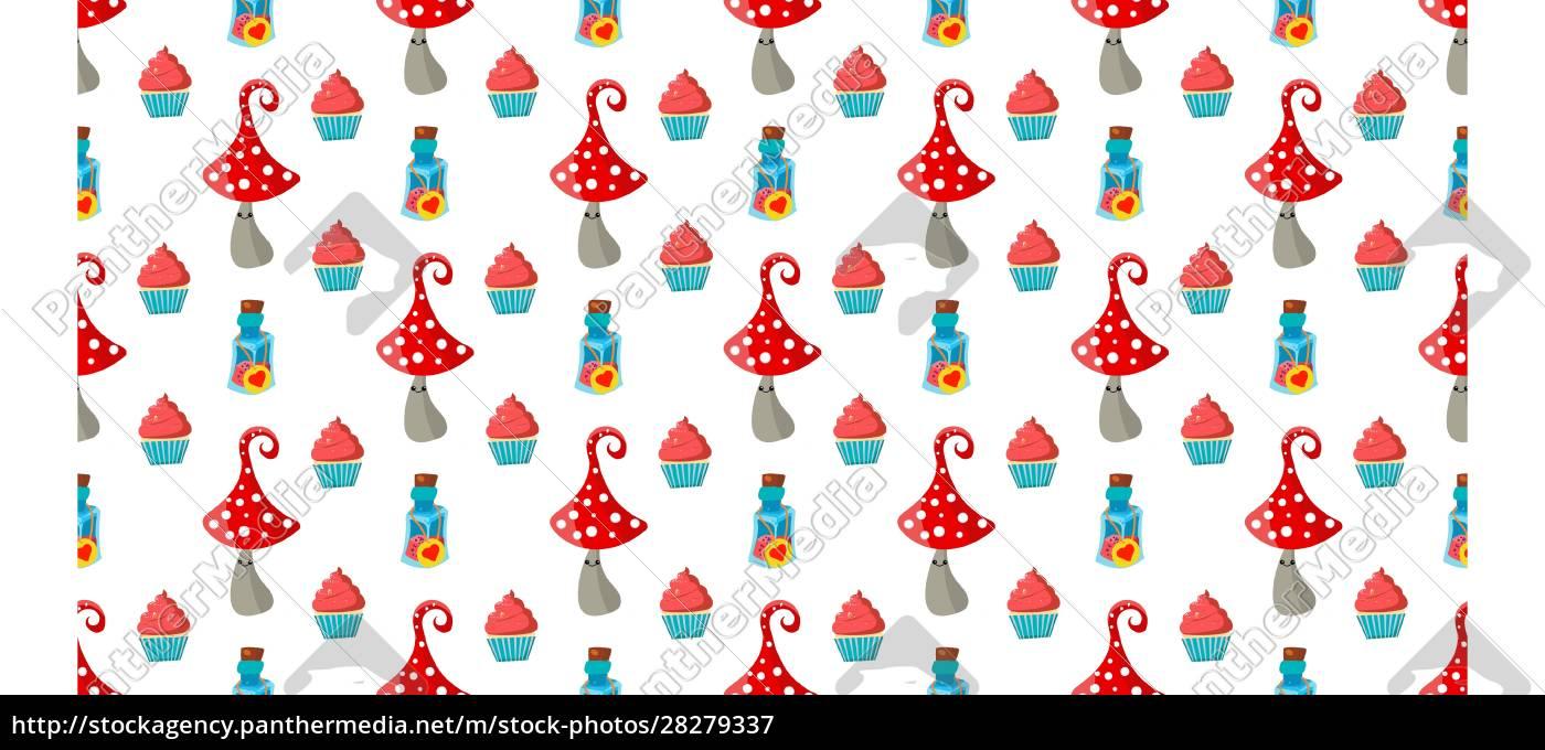 seamless, childish, pattern., amanita, mushrooms., cupcakes - 28279337