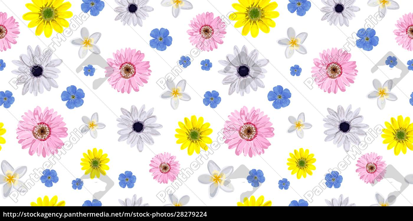 seamless, vector, flower, pattern., realistic, flowers. - 28279224