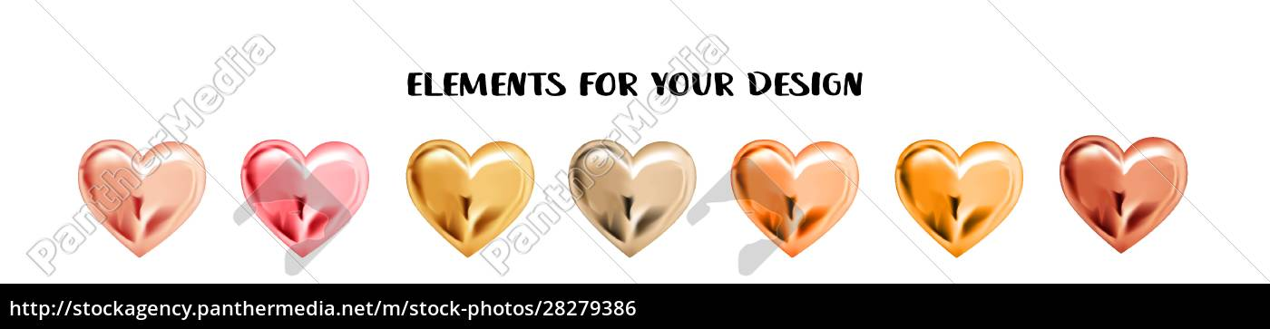 set, of, metal, hearts, isolated, on - 28279386