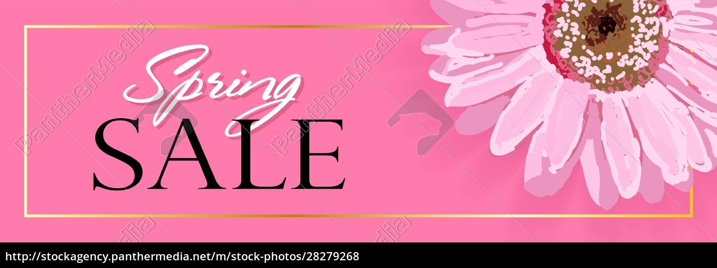 spring, banner, with, realistic, flowers, on - 28279268