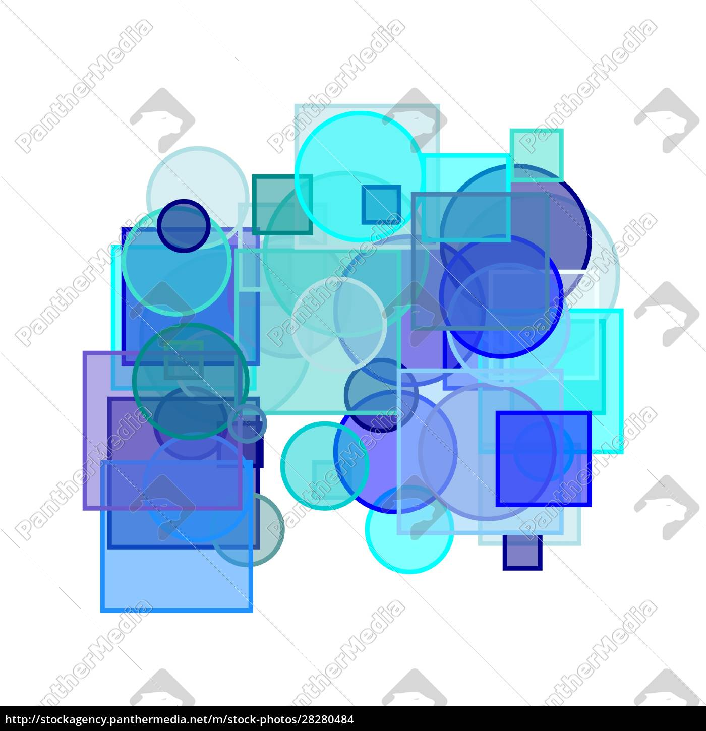 abstract, blue, circles, squares, illustration, background - 28280484