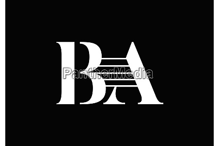 b a initial letter logo design