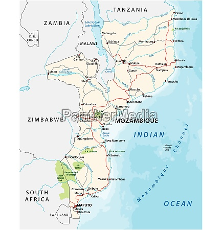 mozambique road and national park vector