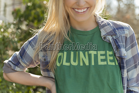 woman in volunteer t shirt