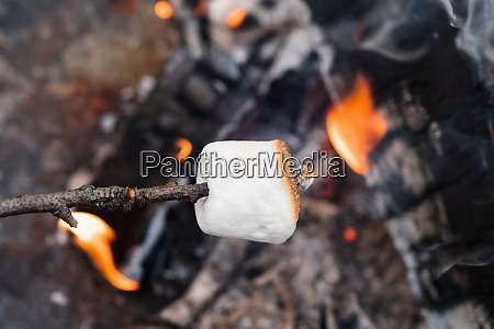 close up of marshmallow on stick