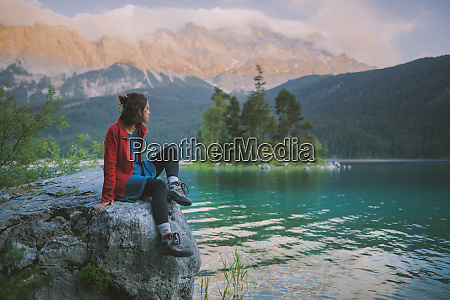germany bavaria eibsee young woman sitting