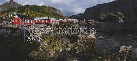 norway lofoten islands nusfjord panoramic view