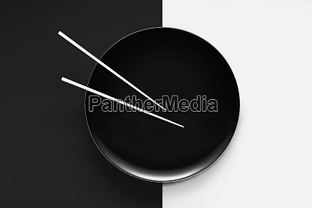 empty plate with chopsticks