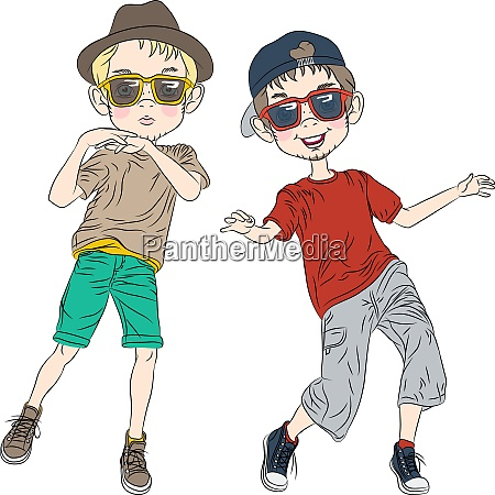 vector funny hipster boys dancing
