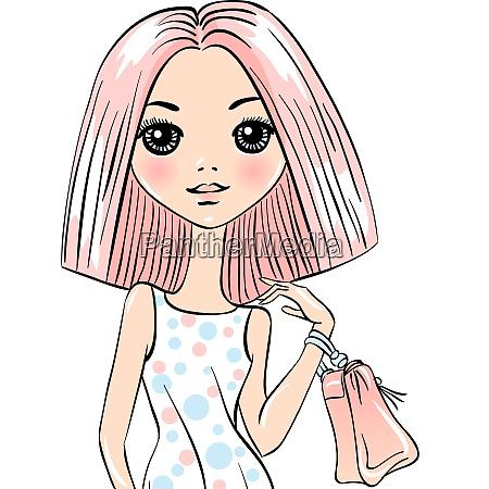 cute fashion girl with bag