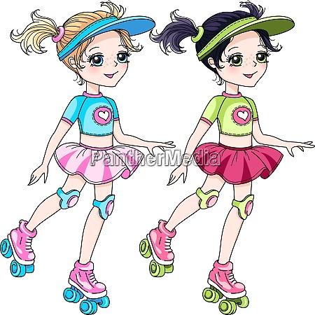 vector two baby girls roller blading