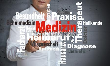 medizin in german medicine wordcloud touchscreen