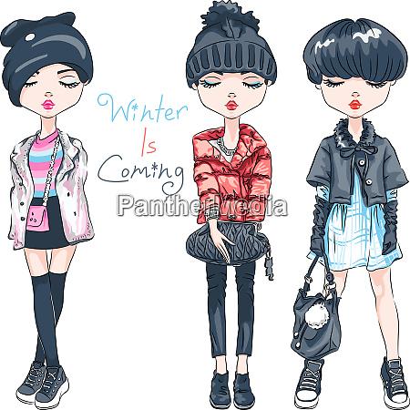 vector set fashion girl in winter