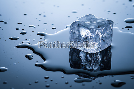 ice cube and water in back