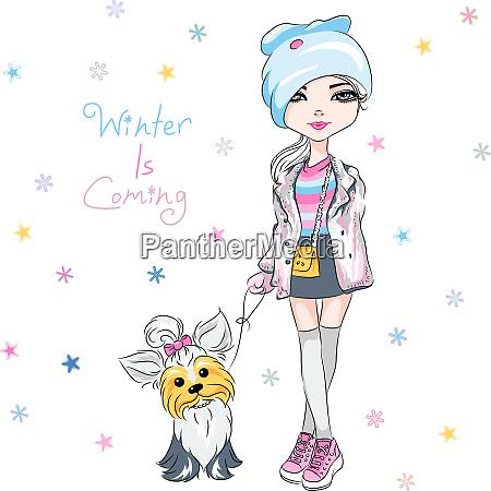 vector fashion girl with dog
