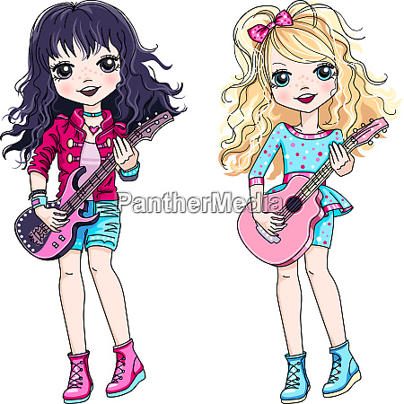 vector two girls playing guitar