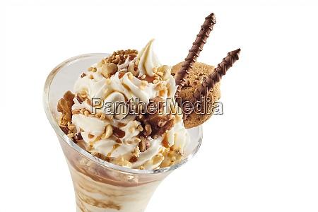 vanilla ice cream with mixed nuts