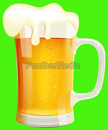 beer glass mug full golden color