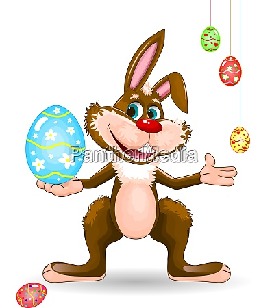 rabbit with easter egg on a
