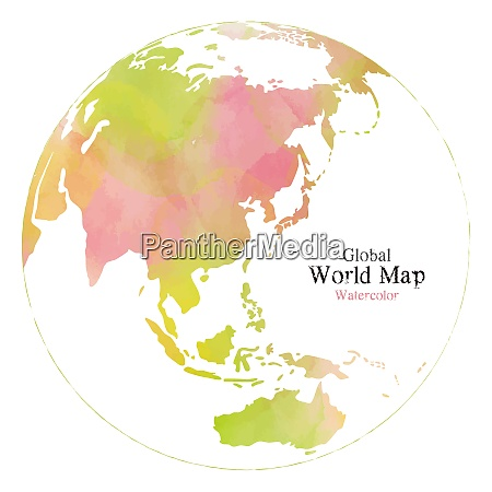 global map with watercolor texture