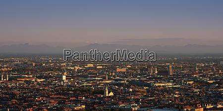 munich panorama in the evening light