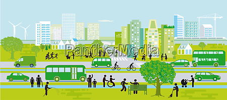 city silhouette with sustainable development