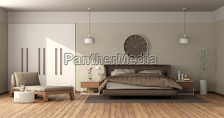 modern master bedroom with leather double