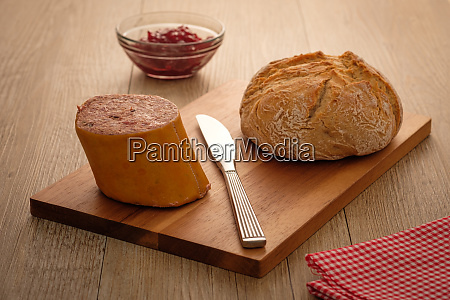 wild boar liver sausage and roll