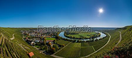 river loop neckar with vineyard nearby