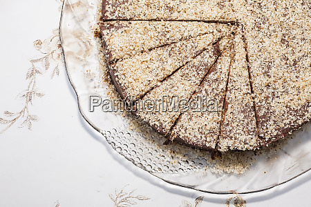 part of a chocolate cake flat