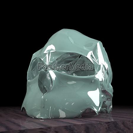 crystal skull in darkness